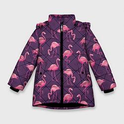 Куртка зимняя для девочки Фиолетовые фламинго цвета 3D-черный — фото 1