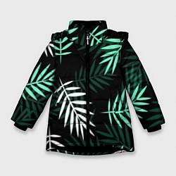 Куртка зимняя для девочки Листья пальмы цвета 3D-черный — фото 1