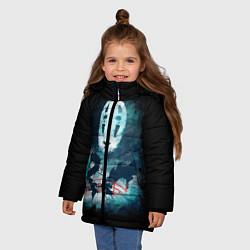 Куртка зимняя для девочки Бог быстрой янтарной реки цвета 3D-черный — фото 2