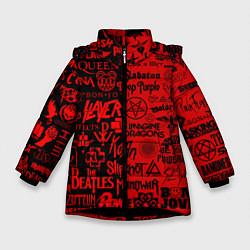 Куртка зимняя для девочки ЛОГОТИПЫ РОК ГРУПП цвета 3D-черный — фото 1