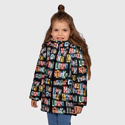 Куртка зимняя для девочки Mad Love цвета 3D-черный — фото 2
