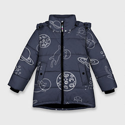 Куртка зимняя для девочки Космо киски цвета 3D-черный — фото 1
