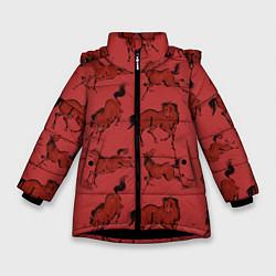 Куртка зимняя для девочки Красные кони цвета 3D-черный — фото 1