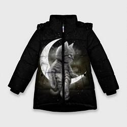 Куртка зимняя для девочки Кот на луне цвета 3D-черный — фото 1