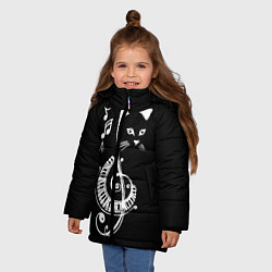 Куртка зимняя для девочки Музыкальный кот цвета 3D-черный — фото 2