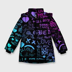 Куртка зимняя для девочки LIL PEEP LOGOBOMBING цвета 3D-черный — фото 1