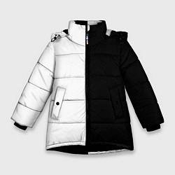 Куртка зимняя для девочки ПРОСТО ЧЁРНО-БЕЛЫЙ цвета 3D-черный — фото 1