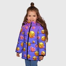 Куртка зимняя для девочки Очень много эмодзи цвета 3D-черный — фото 2