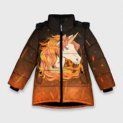 Куртка зимняя для девочки Огненный единорог цвета 3D-черный — фото 1
