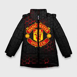 Куртка зимняя для девочки МАНЧЕСТЕР ЮНАЙТЕД цвета 3D-черный — фото 1