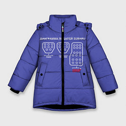 Куртка зимняя для девочки Subaru WRX STi педали цвета 3D-черный — фото 1