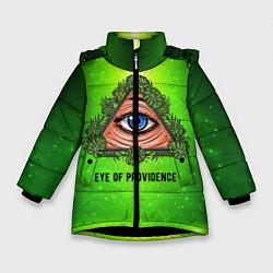 Куртка зимняя для девочки Всевидящее око цвета 3D-черный — фото 1