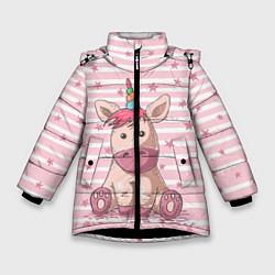 Куртка зимняя для девочки Единорожек цвета 3D-черный — фото 1