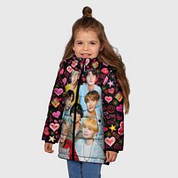 Куртка зимняя для девочки I Love BTS цвета 3D-черный — фото 2