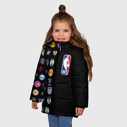 Куртка зимняя для девочки NBA Team Logos 2 цвета 3D-черный — фото 2