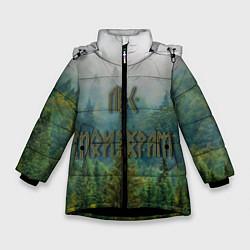 Куртка зимняя для девочки Лес мой храм цвета 3D-черный — фото 1
