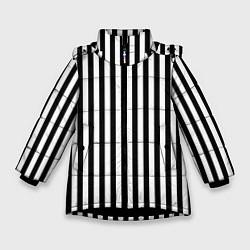 Куртка зимняя для девочки Пикси полосы цвета 3D-черный — фото 1