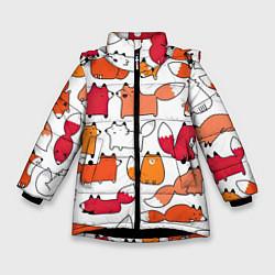 Куртка зимняя для девочки Милые лисы цвета 3D-черный — фото 1