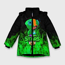 Куртка зимняя для девочки Леон из Бравл Старс цвета 3D-черный — фото 1