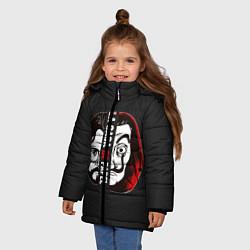 Куртка зимняя для девочки La casa de papel цвета 3D-черный — фото 2