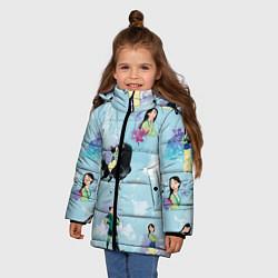 Куртка зимняя для девочки Mulan Pattern цвета 3D-черный — фото 2