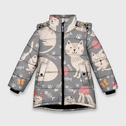 Куртка зимняя для девочки Милые кошечки цвета 3D-черный — фото 1