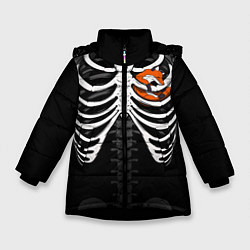 Куртка зимняя для девочки Лиса в груди цвета 3D-черный — фото 1