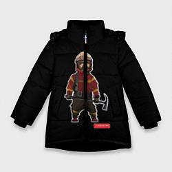 Куртка зимняя для девочки Пожарное Делопожарный,черная цвета 3D-черный — фото 1