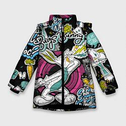 Куртка зимняя для девочки Багз Банни цвета 3D-черный — фото 1