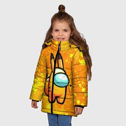 Куртка зимняя для девочки AMONG US - Pikachu цвета 3D-черный — фото 2