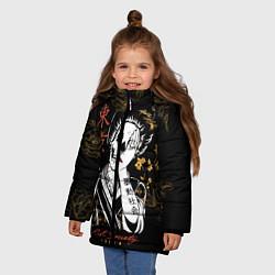 Куртка зимняя для девочки Шарм гейши цвета 3D-черный — фото 2
