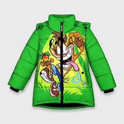 Куртка зимняя для девочки CRASH BANDICOOT цвета 3D-черный — фото 1