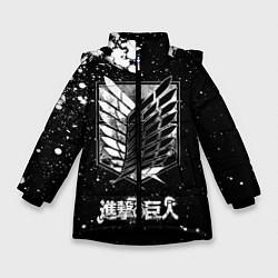 Куртка зимняя для девочки Атака на титанов цвета 3D-черный — фото 1