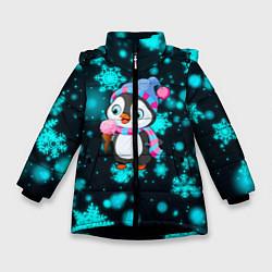 Куртка зимняя для девочки Новогодний пингвин цвета 3D-черный — фото 1