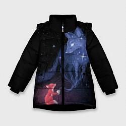 Куртка зимняя для девочки Лиса и ее дух цвета 3D-черный — фото 1