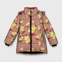 Куртка зимняя для девочки Пирожное с вишней цвета 3D-черный — фото 1