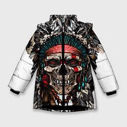 Куртка зимняя для девочки Череп индейца цвета 3D-черный — фото 1