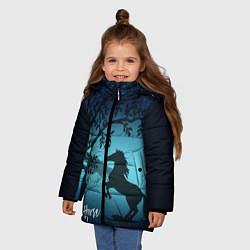 Куртка зимняя для девочки Конь цвета 3D-черный — фото 2
