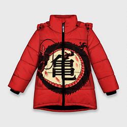 Куртка зимняя для девочки Иероглифы Китайский Дракон цвета 3D-черный — фото 1