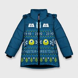 Куртка зимняя для девочки Monster greetings цвета 3D-черный — фото 1