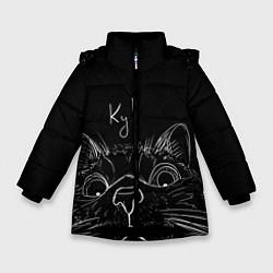 Куртка зимняя для девочки Говорящий кот цвета 3D-черный — фото 1