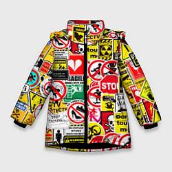 Куртка зимняя для девочки Запрещающие знаки цвета 3D-черный — фото 1