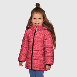 Куртка зимняя для девочки Сердечки цвета 3D-черный — фото 2