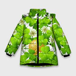 Куртка зимняя для девочки Ирландский Клевер и Монетка цвета 3D-черный — фото 1