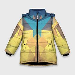 Куртка зимняя для девочки Абстрактная Геометрия цвета 3D-черный — фото 1