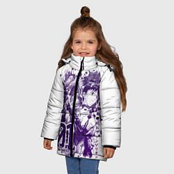 Куртка зимняя для девочки Евангелион, EVA 01 цвета 3D-черный — фото 2