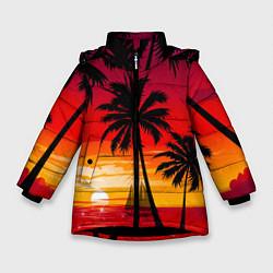 Куртка зимняя для девочки Гавайский закат цвета 3D-черный — фото 1