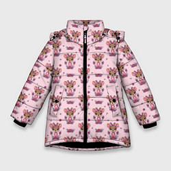 Куртка зимняя для девочки Милая олениха цвета 3D-черный — фото 1