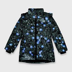 Куртка зимняя для девочки Маленькие ЦветЫ цвета 3D-черный — фото 1