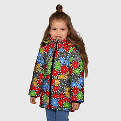 Куртка зимняя для девочки Фишки для Покера цвета 3D-черный — фото 2